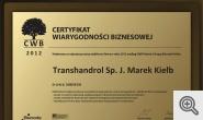 Certyfikat Wiarygodności Biznesowej 2012
