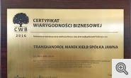 Certyfikat Wiarygodności Biznesowej 2016